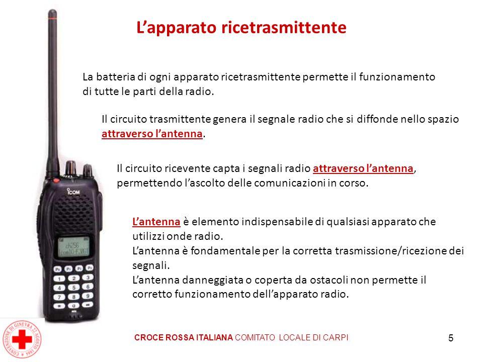 5 L'apparato ricetrasmittente CROCE ROSSA ITALIANA COMITATO LOCALE DI CARPI La batteria di ogni apparato ricetrasmittente permette il funzionamento di