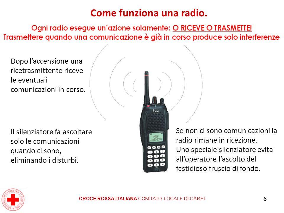 6 CROCE ROSSA ITALIANA COMITATO LOCALE DI CARPI Dopo l'accensione una ricetrasmittente riceve le eventuali comunicazioni in corso. Se non ci sono comu