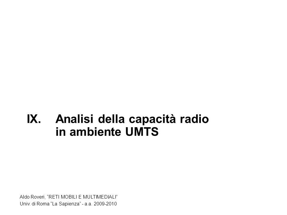 IX.Analisi della capacità radio in ambiente UMTS Aldo Roveri, RETI MOBILI E MULTIMEDIALI Univ.