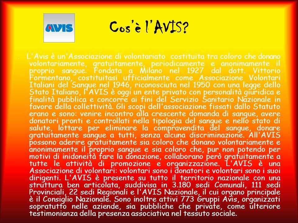 Cos'è l'AVIS?. L'Avis è un'Associazione di volontariato costituita tra coloro che donano volontariamente, gratuitamente, periodicamente e anonimamente