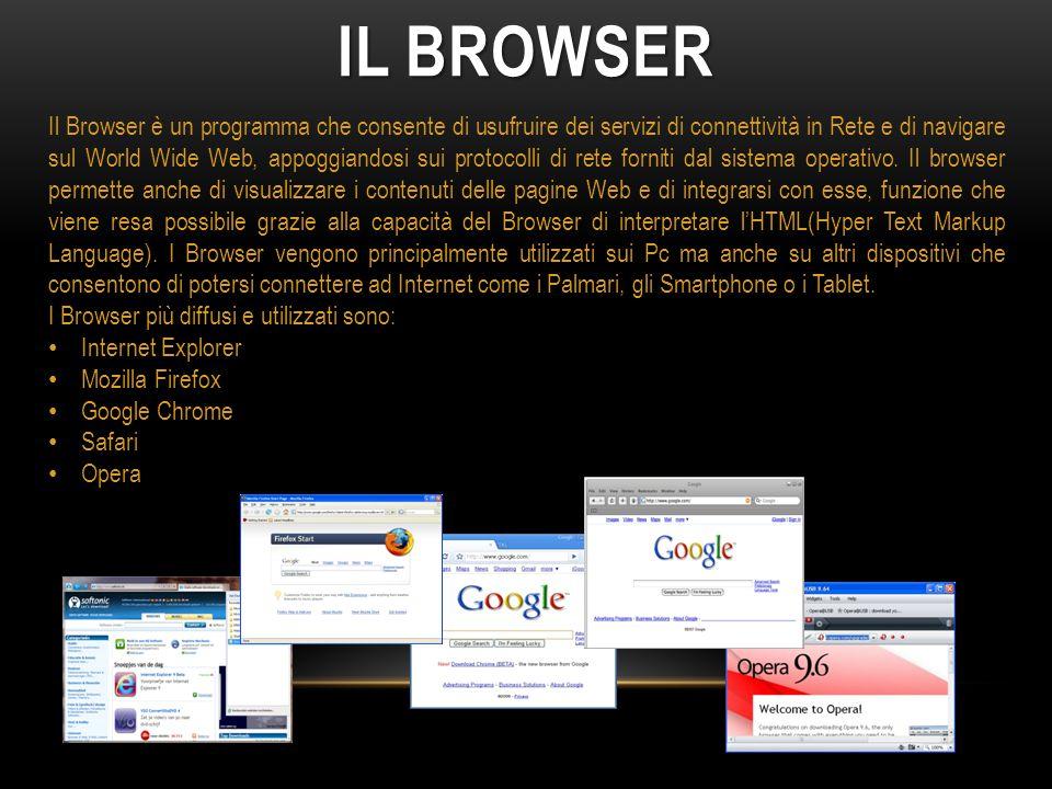 Il Browser è un programma che consente di usufruire dei servizi di connettività in Rete e di navigare sul World Wide Web, appoggiandosi sui protocolli