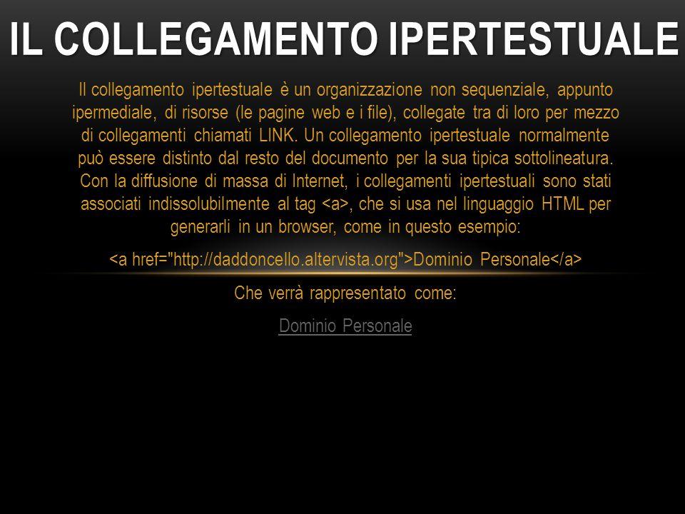 IL COLLEGAMENTO IPERTESTUALE Il collegamento ipertestuale è un organizzazione non sequenziale, appunto ipermediale, di risorse (le pagine web e i file