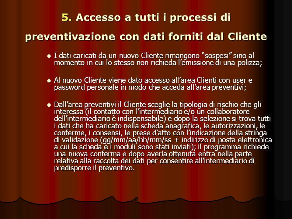"""5. Accesso a tutti i processi di preventivazione con dati forniti dal Cliente I dati caricati da un nuovo Cliente rimangono """"sospesi"""" sino al momento"""