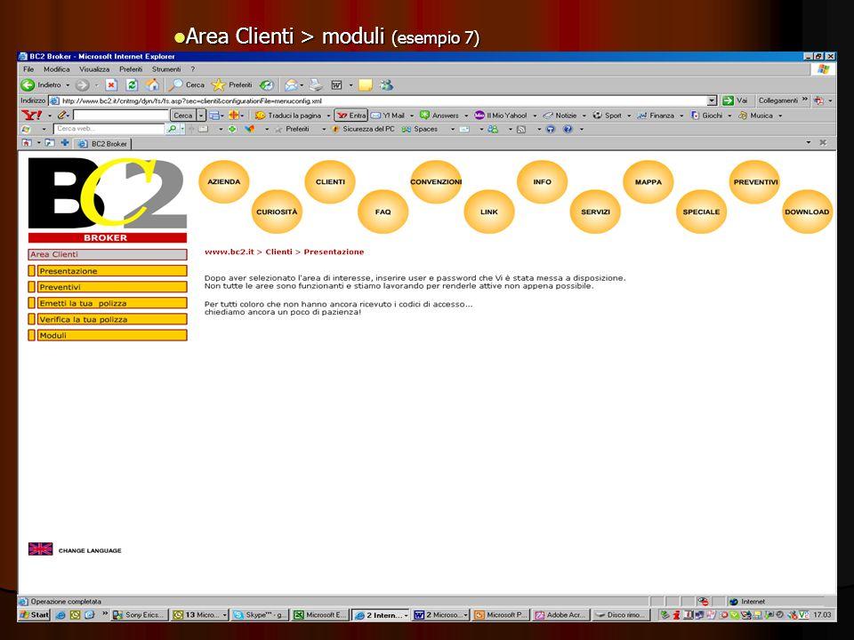 Area Clienti > moduli (esempio 7) Area Clienti > moduli (esempio 7)