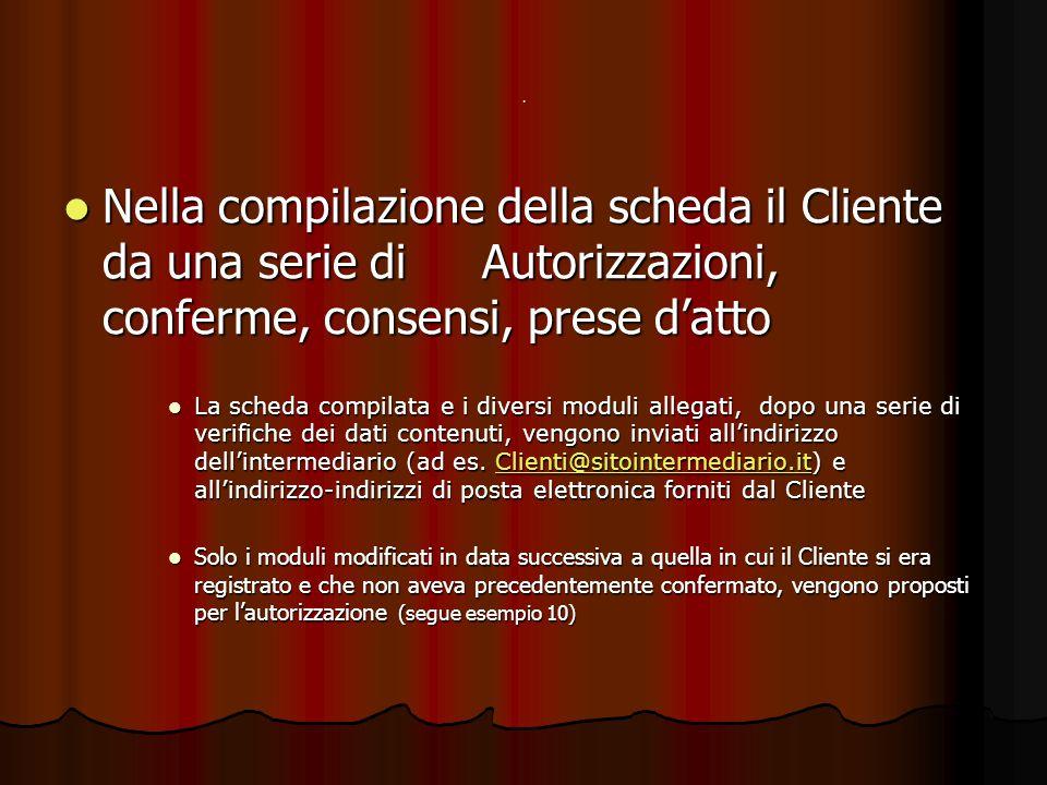 . Nella compilazione della scheda il Cliente da una serie di Autorizzazioni, conferme, consensi, prese d'atto Nella compilazione della scheda il Clien