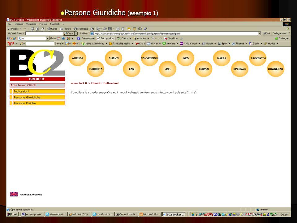 Persone Giuridiche (esempio 1) Persone Giuridiche (esempio 1)