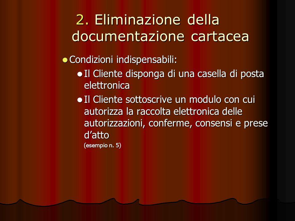 2. Eliminazione della documentazione cartacea Condizioni indispensabili: Condizioni indispensabili: Il Cliente disponga di una casella di posta elettr