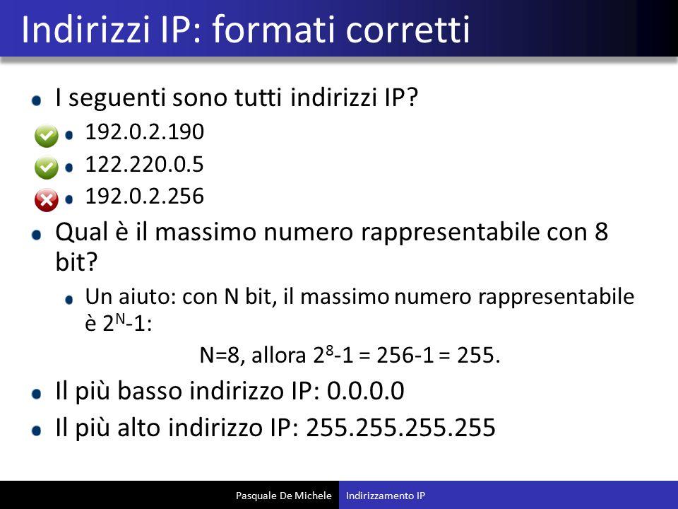 Pasquale De Michele I seguenti sono tutti indirizzi IP.