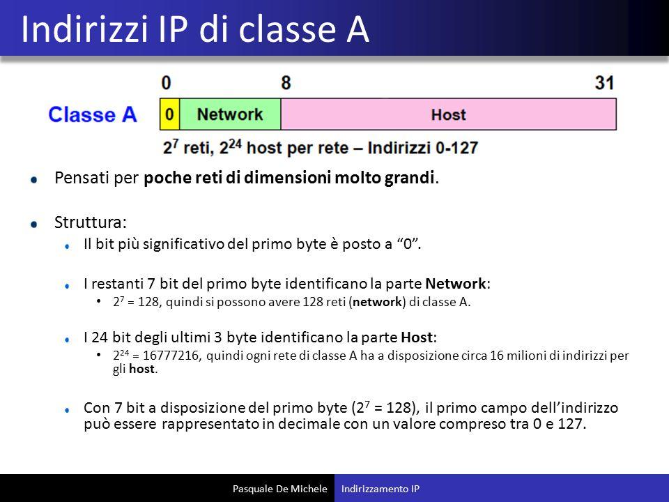 """Pasquale De Michele Pensati per poche reti di dimensioni molto grandi. Struttura: Il bit più significativo del primo byte è posto a """"0"""". I restanti 7"""