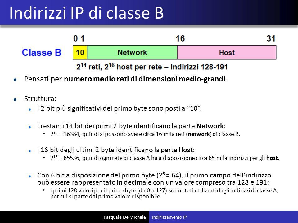 """Pasquale De Michele Pensati per numero medio reti di dimensioni medio-grandi. Struttura: I 2 bit più significativi del primo byte sono posti a """"10"""". I"""