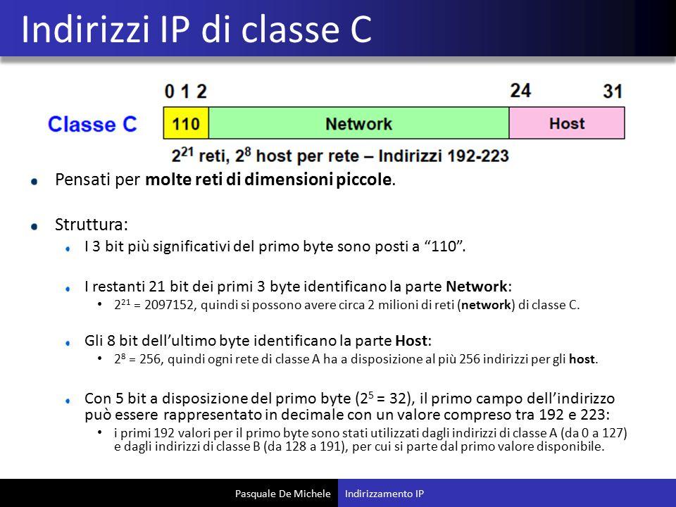 """Pasquale De Michele Pensati per molte reti di dimensioni piccole. Struttura: I 3 bit più significativi del primo byte sono posti a """"110"""". I restanti 2"""