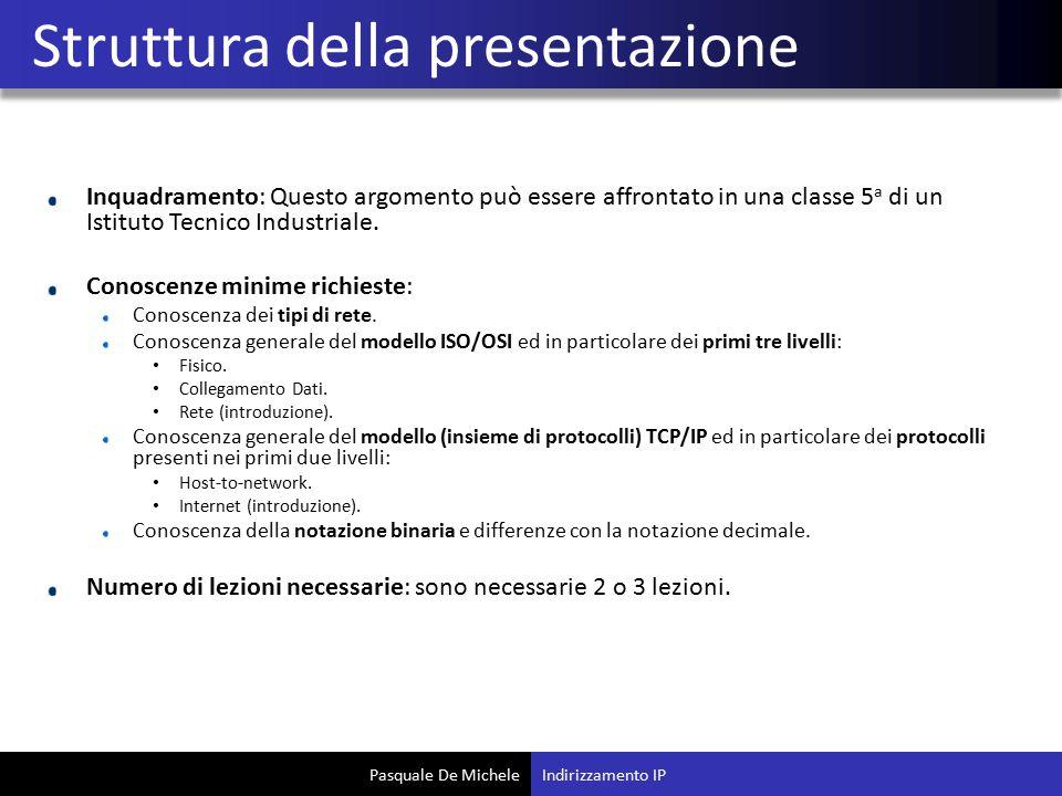 Pasquale De Michele Inquadramento: Questo argomento può essere affrontato in una classe 5 a di un Istituto Tecnico Industriale.