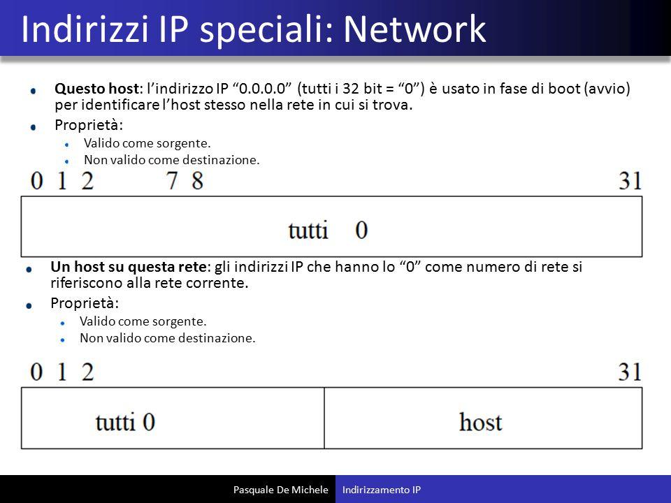 Pasquale De Michele Questo host: l'indirizzo IP 0.0.0.0 (tutti i 32 bit = 0 ) è usato in fase di boot (avvio) per identificare l'host stesso nella rete in cui si trova.