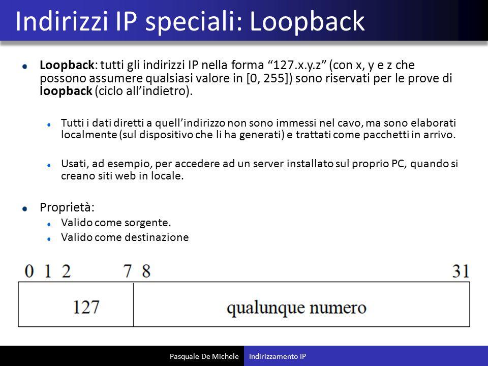 Pasquale De Michele Loopback: tutti gli indirizzi IP nella forma 127.x.y.z (con x, y e z che possono assumere qualsiasi valore in [0, 255]) sono riservati per le prove di loopback (ciclo all'indietro).