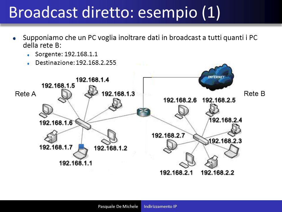 Pasquale De Michele Supponiamo che un PC voglia inoltrare dati in broadcast a tutti quanti i PC della rete B: Sorgente: 192.168.1.1 Destinazione: 192.168.2.255 Broadcast diretto: esempio (1) Indirizzamento IP Rete A Rete B