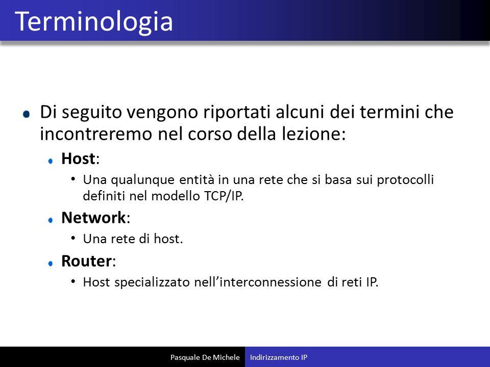 Pasquale De Michele Di seguito vengono riportati alcuni dei termini che incontreremo nel corso della lezione: Host: Una qualunque entità in una rete che si basa sui protocolli definiti nel modello TCP/IP.