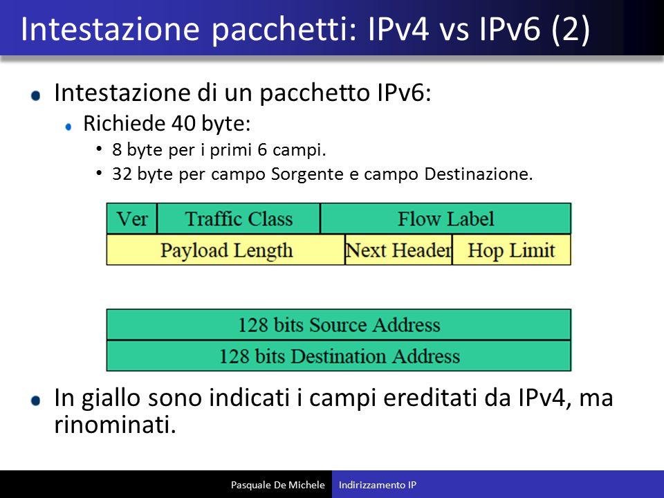 Pasquale De Michele Intestazione di un pacchetto IPv6: Richiede 40 byte: 8 byte per i primi 6 campi. 32 byte per campo Sorgente e campo Destinazione.