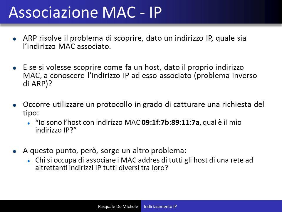 Pasquale De Michele ARP risolve il problema di scoprire, dato un indirizzo IP, quale sia l'indirizzo MAC associato. E se si volesse scoprire come fa u