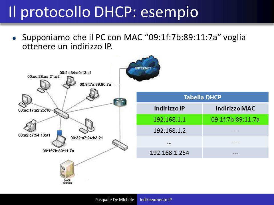 """Pasquale De Michele Supponiamo che il PC con MAC """"09:1f:7b:89:11:7a"""" voglia ottenere un indirizzo IP. Il protocollo DHCP: esempio Indirizzamento IP Ta"""