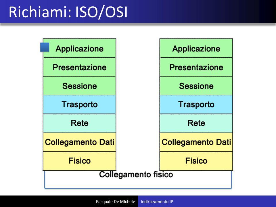Pasquale De Michele Richiami: ISO/OSI Indirizzamento IP