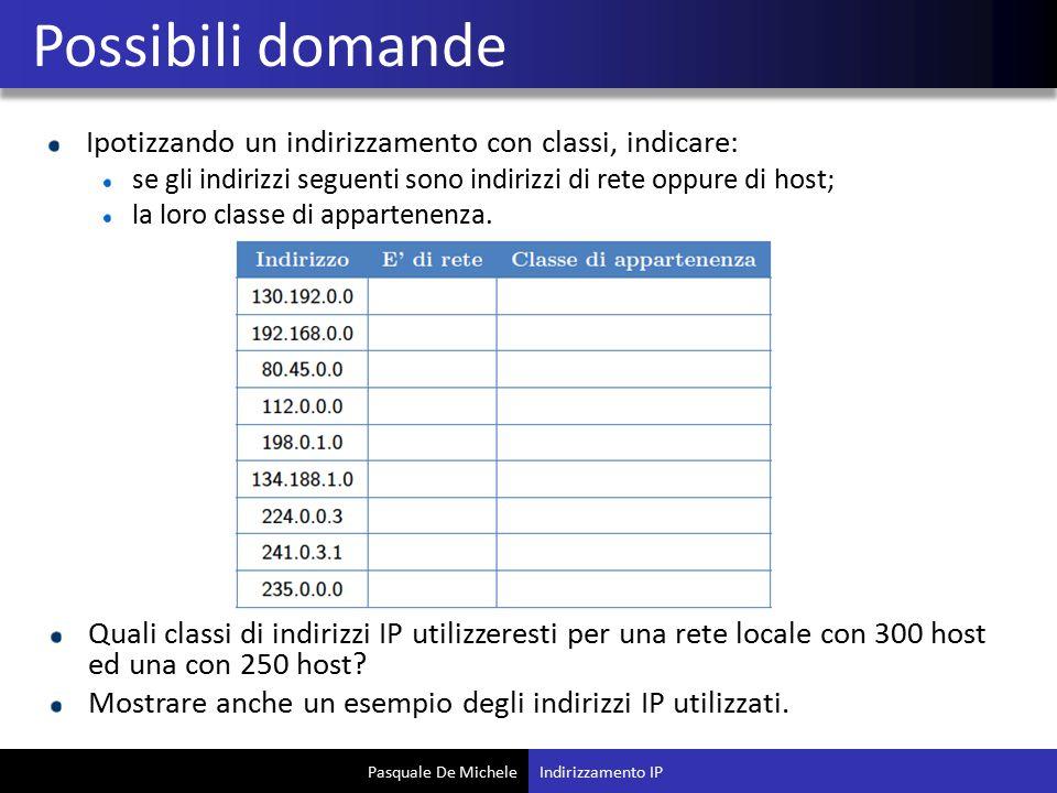 Pasquale De Michele Ipotizzando un indirizzamento con classi, indicare: se gli indirizzi seguenti sono indirizzi di rete oppure di host; la loro classe di appartenenza.