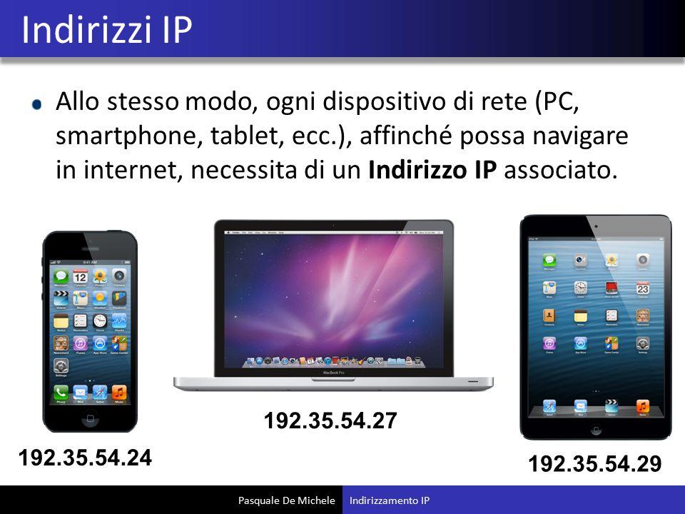 Pasquale De Michele Allo stesso modo, ogni dispositivo di rete (PC, smartphone, tablet, ecc.), affinché possa navigare in internet, necessita di un Indirizzo IP associato.