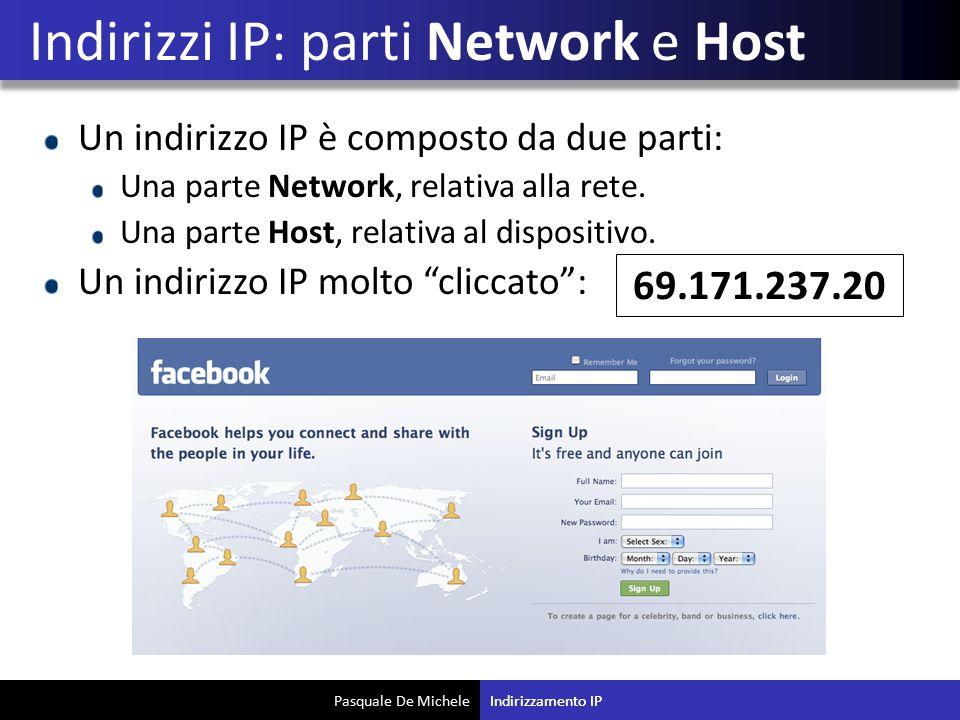 Pasquale De Michele Un indirizzo IP è composto da due parti: Una parte Network, relativa alla rete. Una parte Host, relativa al dispositivo. Un indiri