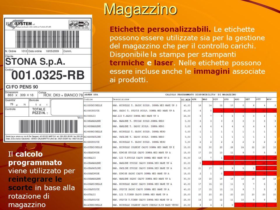 Magazzino Etichette personalizzabili. Le etichette possono essere utilizzate sia per la gestione del magazzino che per il controllo carichi. Disponibi