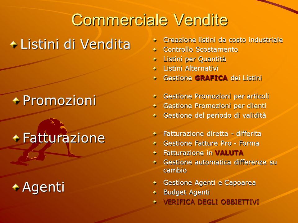 Commerciale Vendite Listini di Vendita Creazione listini da costo industriale Controllo Scostamento Listini per Quantità Listini Alternativi Gestione