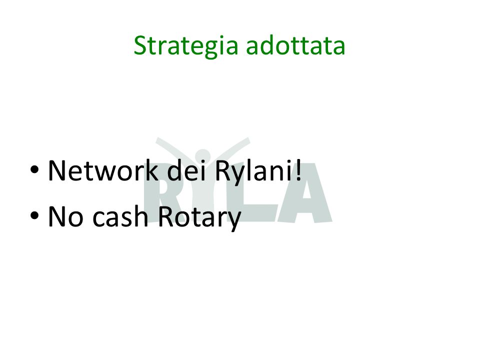 Strategia adottata Network dei Rylani! No cash Rotary