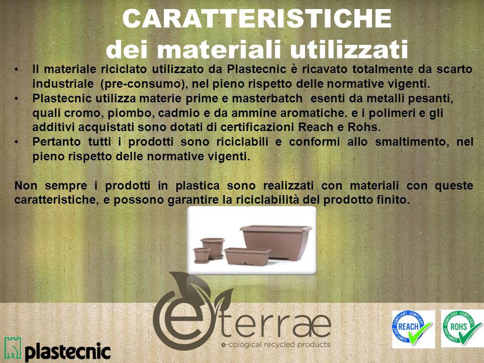 Il materiale riciclato utilizzato da Plastecnic è ricavato totalmente da scarto industriale (pre-consumo), nel pieno rispetto delle normative vigenti.