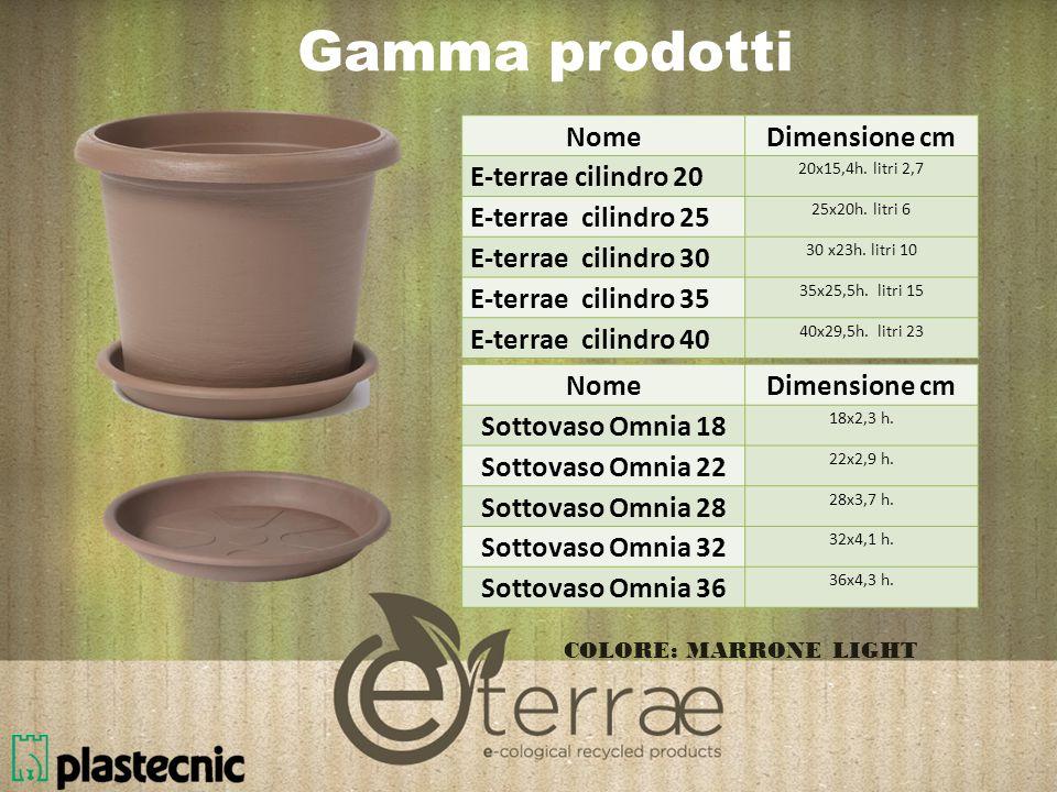 Gamma prodotti NomeDimensione cm E-terrae Cassetta 50 50x20x16,7h. litri 10,5