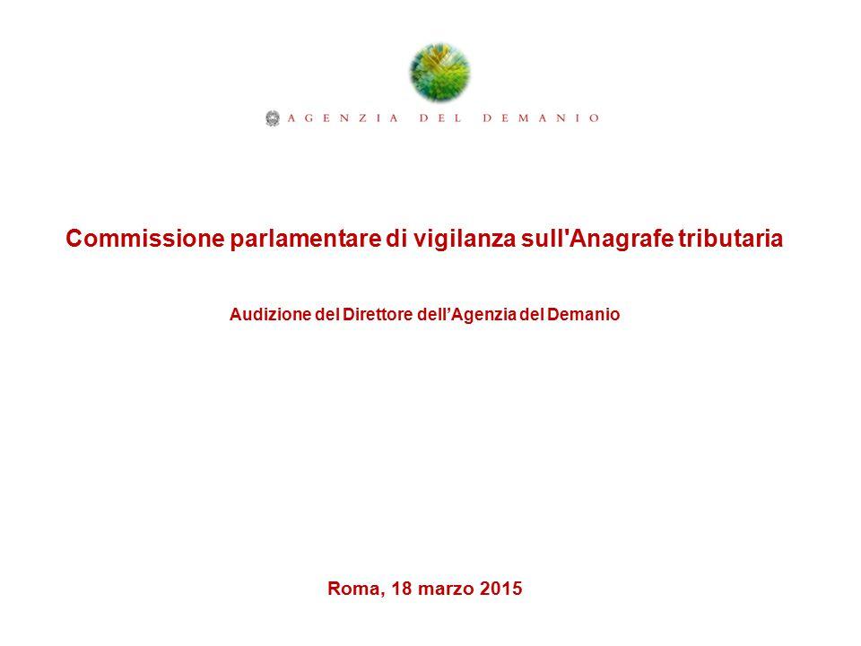 Commissione parlamentare di vigilanza sull Anagrafe tributaria Audizione del Direttore dell'Agenzia del Demanio Roma, 18 marzo 2015