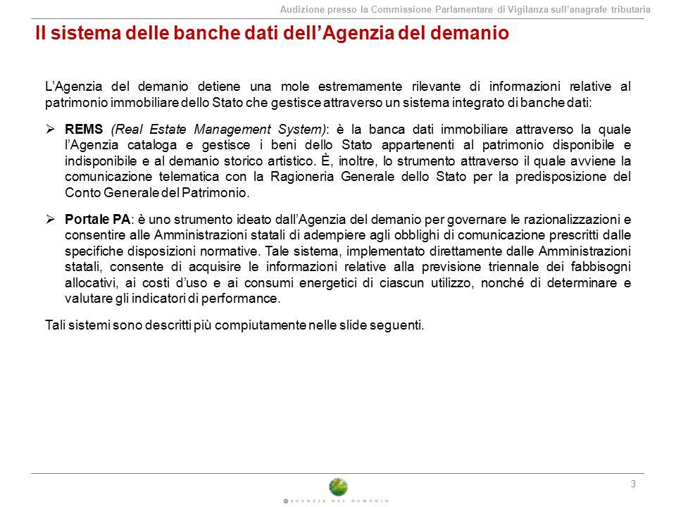 Audizione presso la Commissione Parlamentare di Vigilanza sull'anagrafe tributaria Rapporti tra Agenzia del demanio ed EE.TT.