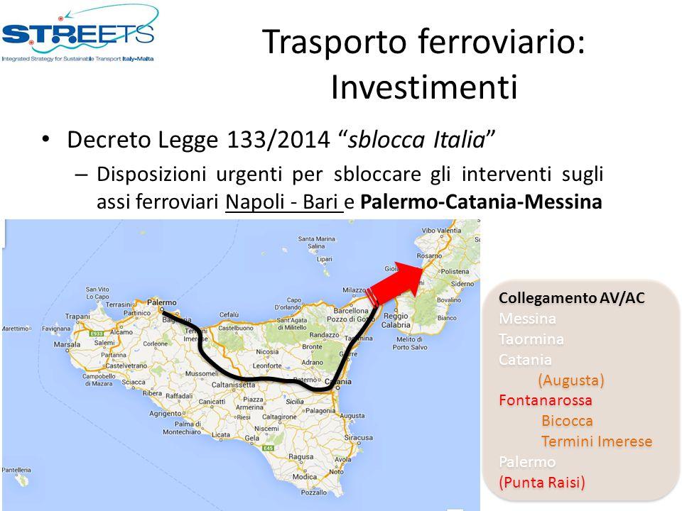 """Trasporto ferroviario: Investimenti Decreto Legge 133/2014 """"sblocca Italia"""" – Disposizioni urgenti per sbloccare gli interventi sugli assi ferroviari"""