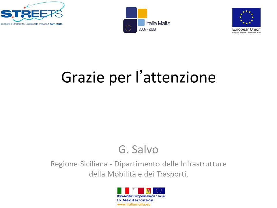 Grazie per l ' attenzione G. Salvo Regione Siciliana - Dipartimento delle Infrastrutture della Mobilità e dei Trasporti.