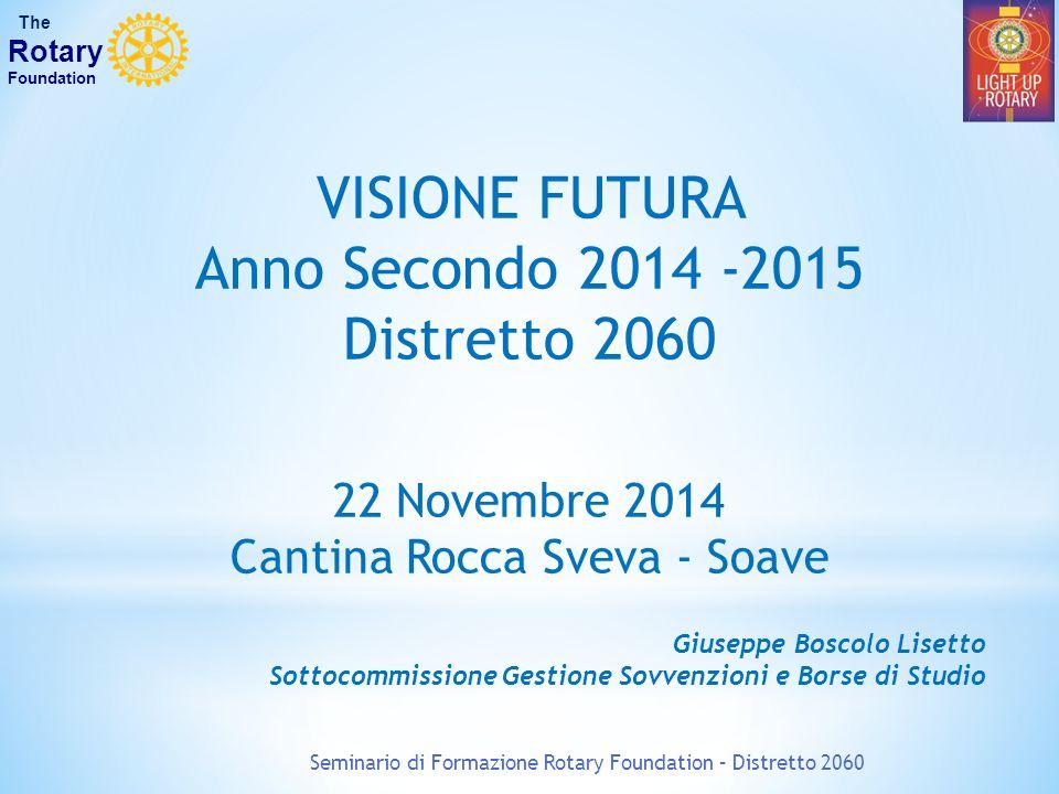 VISIONE FUTURA Anno Secondo 2014 -2015 Distretto 2060 22 Novembre 2014 Cantina Rocca Sveva - Soave Giuseppe Boscolo Lisetto Sottocommissione Gestione