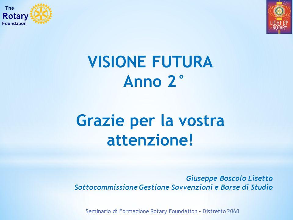 Seminario di Formazione Rotary Foundation – Distretto 2060 The Rotary Foundation VISIONE FUTURA Anno 2° Grazie per la vostra attenzione! Giuseppe Bosc