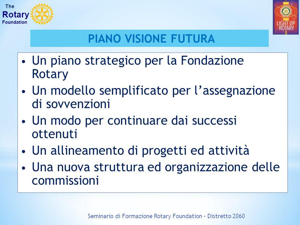 Seminario di Formazione Rotary Foundation – Distretto 2060 The Rotary Foundation PIANO VISIONE FUTURA Un piano strategico per la Fondazione Rotary Un