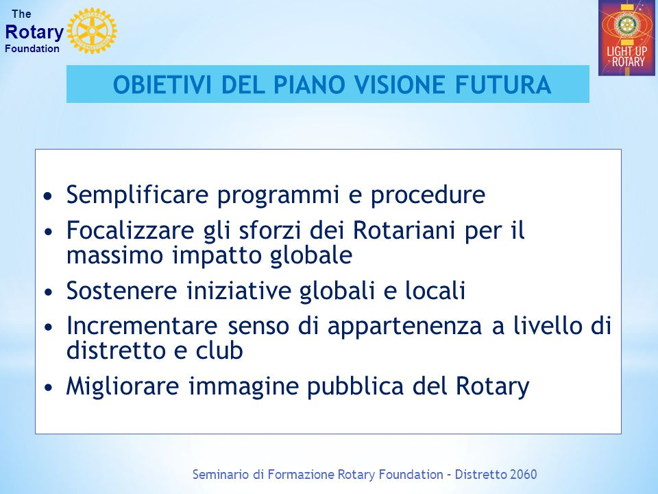 Seminario di Formazione Rotary Foundation – Distretto 2060 The Rotary Foundation OBIETIVI DEL PIANO VISIONE FUTURA Semplificare programmi e procedure