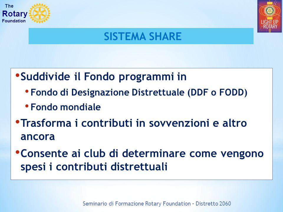 Seminario di Formazione Rotary Foundation – Distretto 2060 The Rotary Foundation SISTEMA SHARE Suddivide il Fondo programmi in Fondo di Designazione D