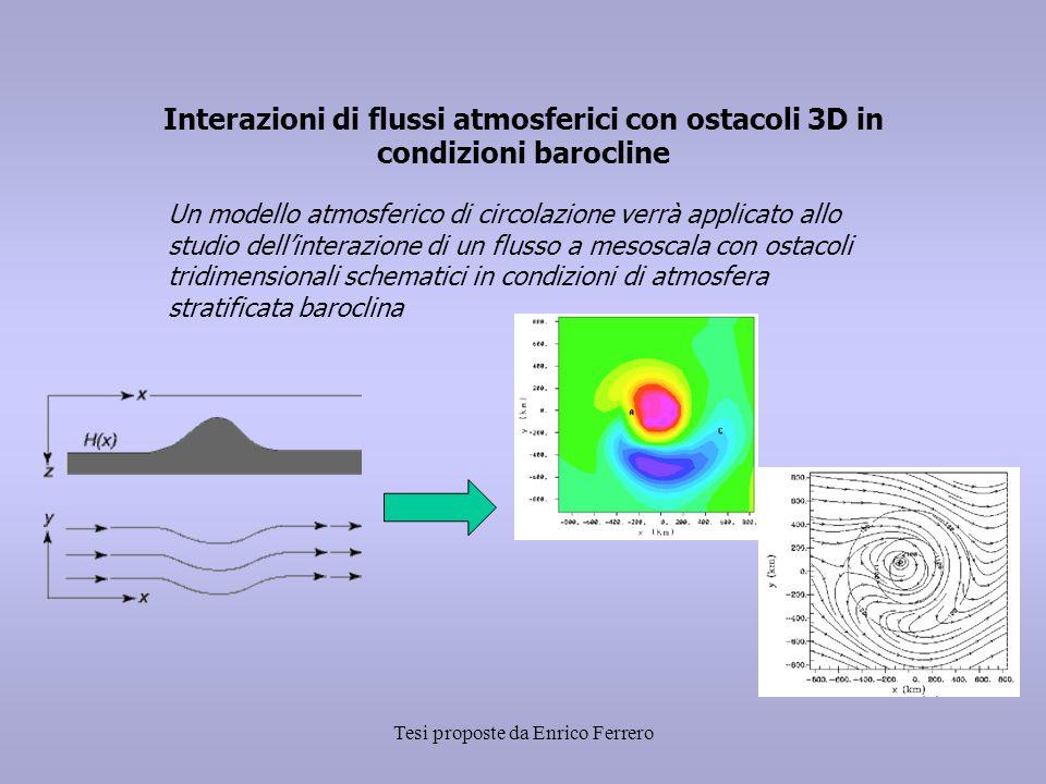 Tesi proposte da Enrico Ferrero Interazioni di flussi atmosferici con ostacoli 3D in condizioni barocline Un modello atmosferico di circolazione verrà applicato allo studio dell'interazione di un flusso a mesoscala con ostacoli tridimensionali schematici in condizioni di atmosfera stratificata baroclina