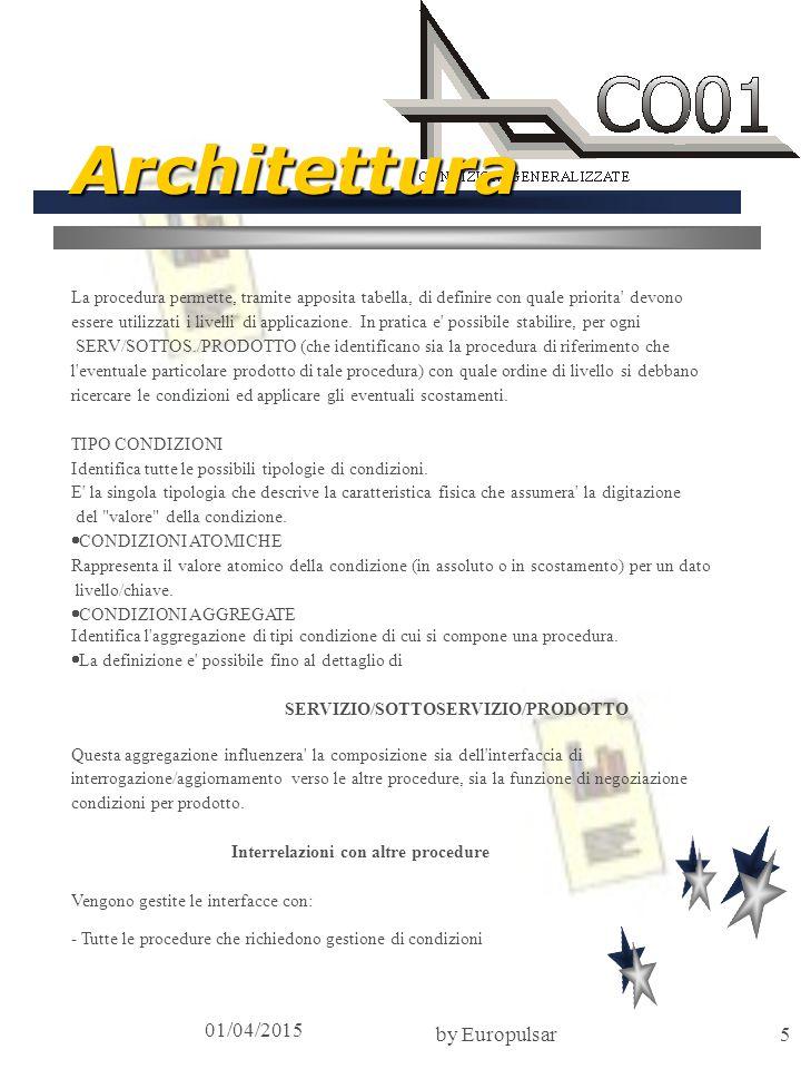 01/04/2015 by Europulsar6 Macrofunzioni Il prodotto si articola nella gestione delle seguenti entita :  PRIORITA DI LIVELLI  TIPO CONDIZIONI  CONDIZIONI AGGREGATE  CONDIZIONI ATOMICHE  PARAMETRI DI ISTITUTO A livello batch sono previste fasi di:  INVENTARIO  IMPIANTO esistono routines di interfaccia TP e Batch per interrogare e/o aggiornare le condizioni aggregate per un dato servizo/sottoservizo/prodotto ricercando la chiave piu vicina a quella passata.