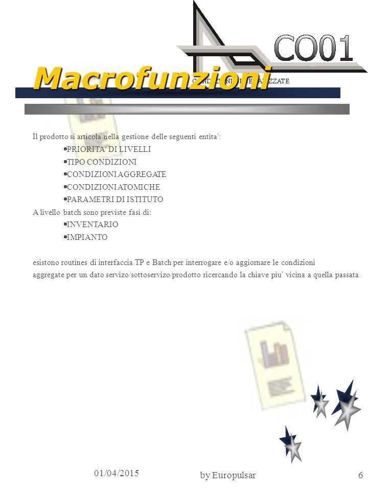 01/04/2015 by Europulsar7 Scheda tecnica Ambienti Tecnologici Disponibili Architettura: SOA Hardware: IBM 30xx (Servizi Applicativi) Sistema operativo: MVS Tp monitor: CICS/IMS, J2EE Terminali: 3270-like, Browser Strutture dati: DB2, Oracle Linguaggio: Cobol 2, Websphere (Java) Standards Progettuali Help in linea Multibanca Multilingua (Vedere Architettura prodotti Europulsar) Dimensionamenti tecnici Programmi TP: 100 Programmi BATCH: 40 Linee Codice: 600.000 Mappe: 35 Archivi/Tabelle: 25 Oneri di interfacciamento 0.5 mesi/uomo Manutenzione 12% sul prodotto Mainframe 15% sul prodotto su PC