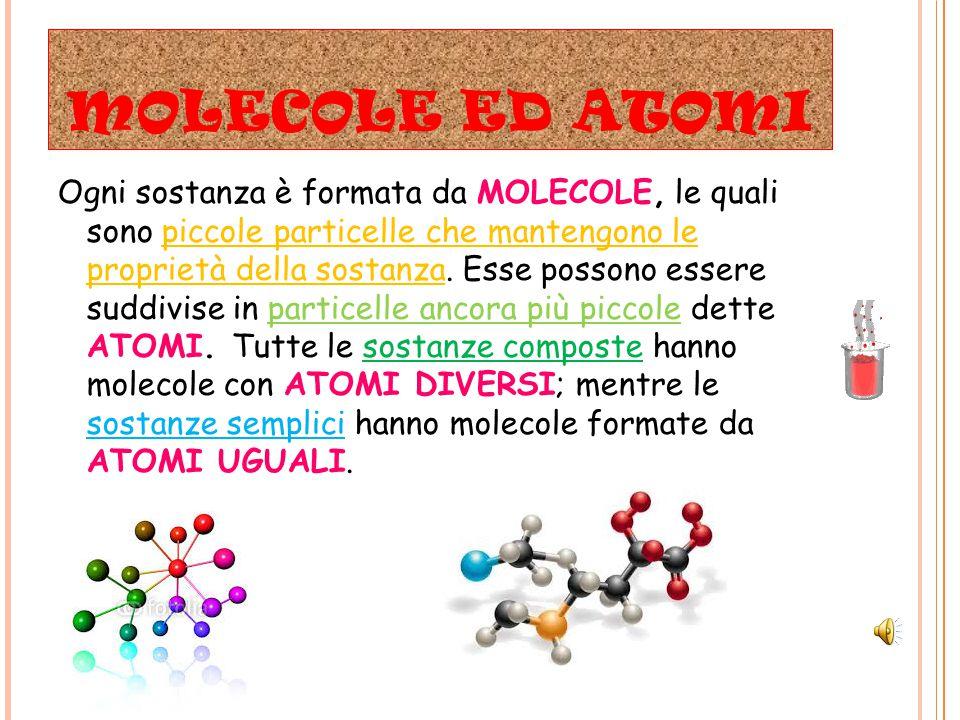 MOLECOLE ED ATOMI Ogni sostanza è formata da MOLECOLE, le quali sono piccole particelle che mantengono le proprietà della sostanza.