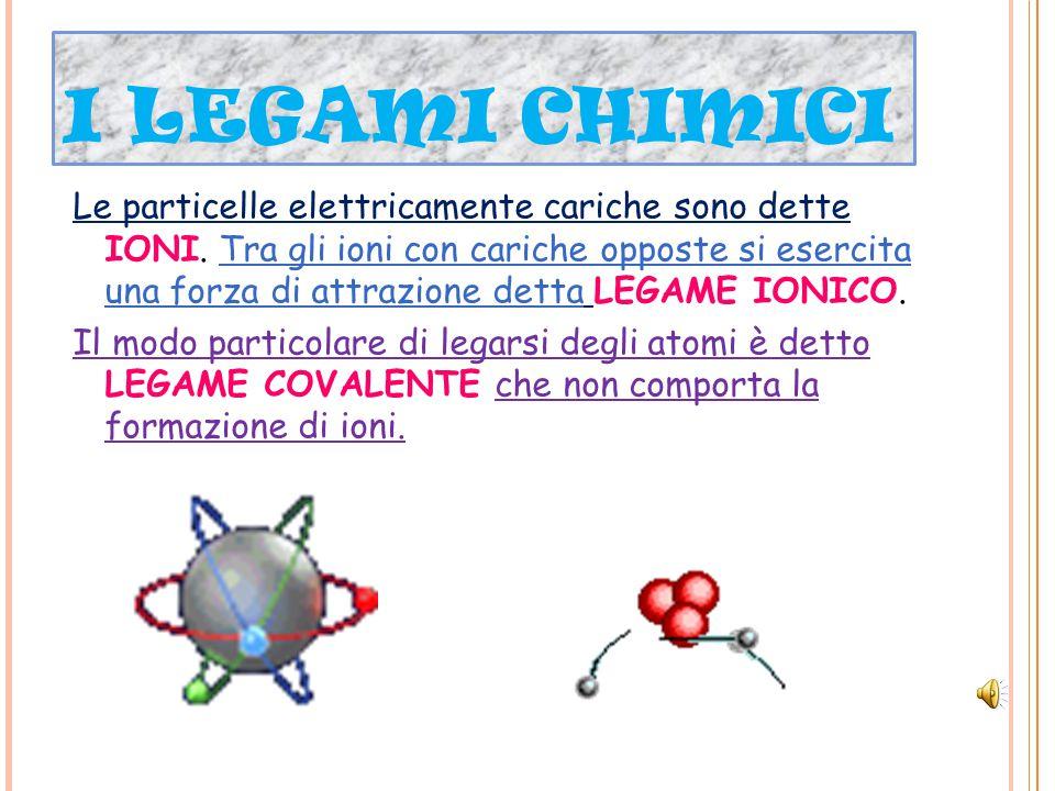 I LEGAMI CHIMICI Le particelle elettricamente cariche sono dette IONI.
