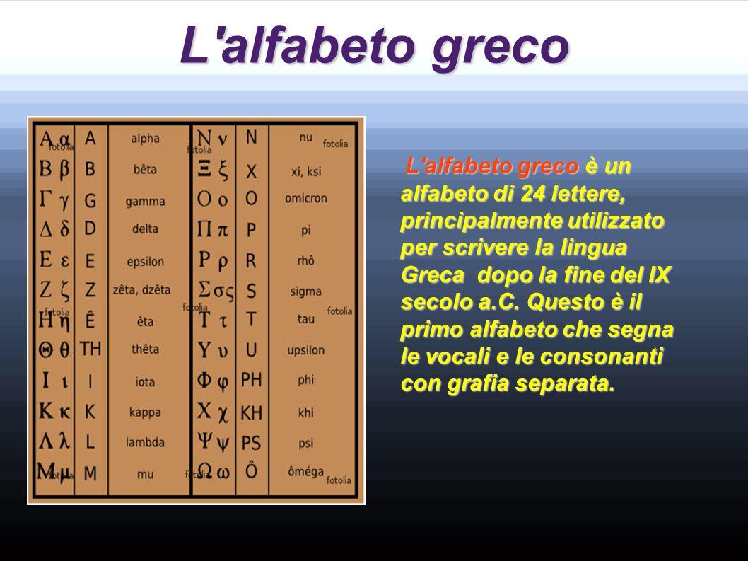 L'alfabeto etrusco L'alfabeto etrusco é composto da 26 lettere delle quali quattro (B C D O), non sono mai utilizzate. L'alfabeto etrusco é composto d