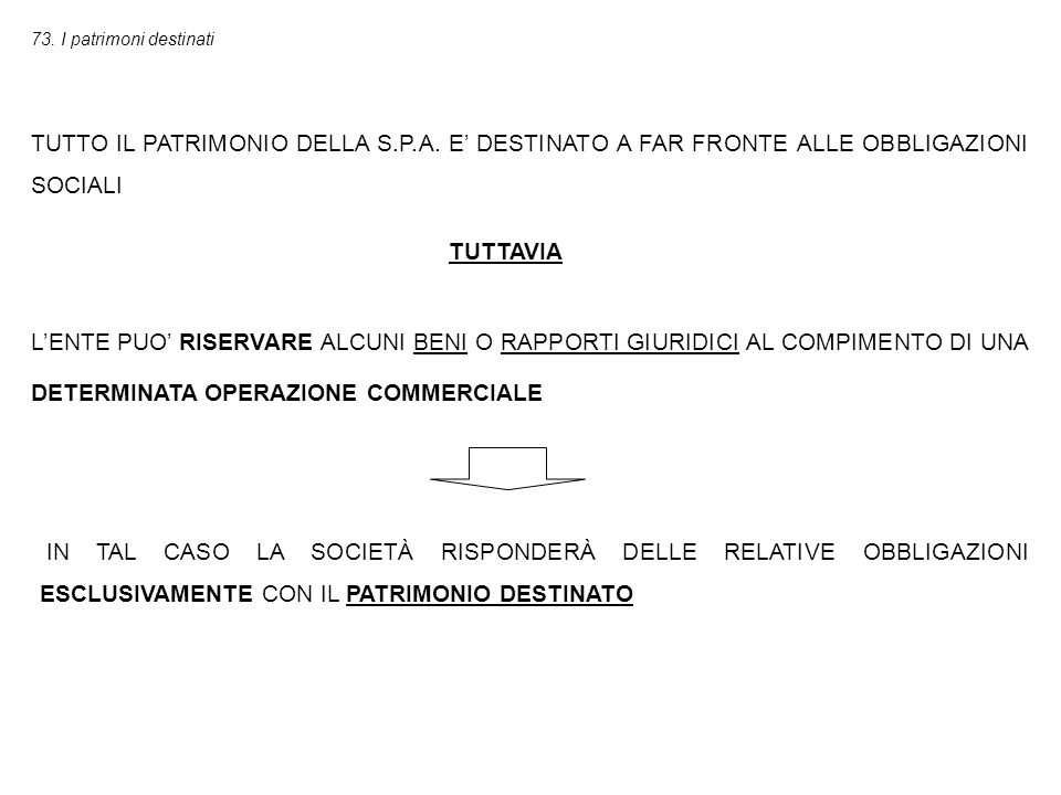 73. I patrimoni destinati TUTTO IL PATRIMONIO DELLA S.P.A.