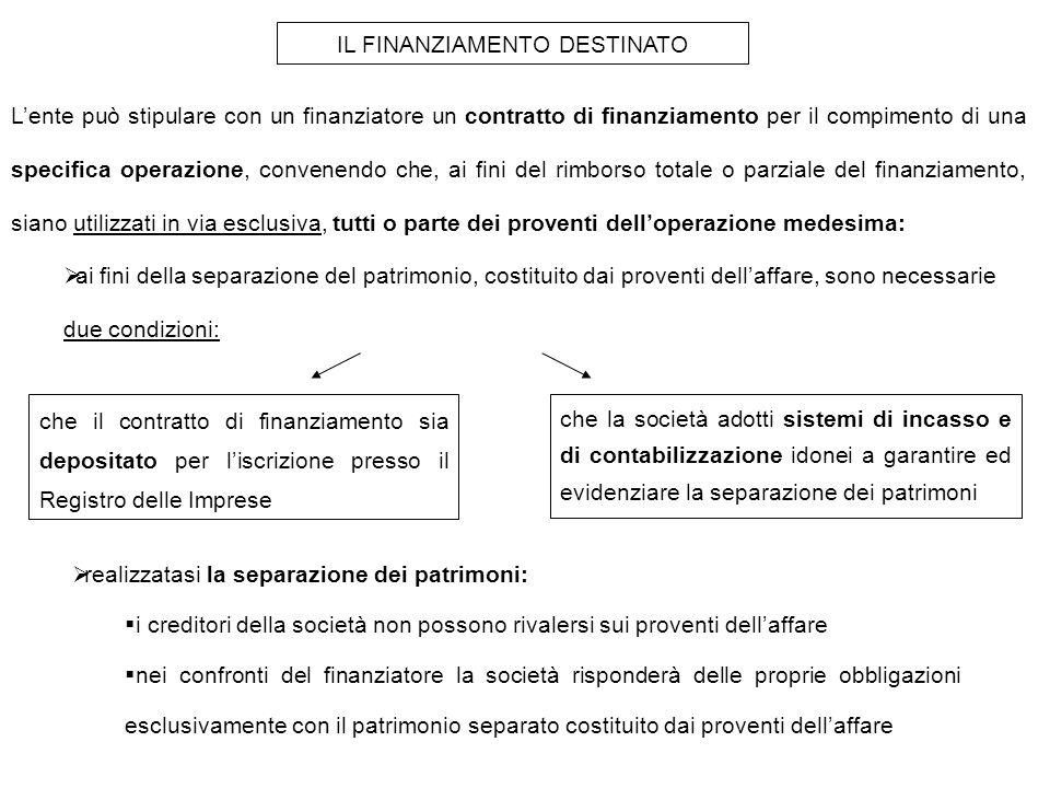 IL FINANZIAMENTO DESTINATO L'ente può stipulare con un finanziatore un contratto di finanziamento per il compimento di una specifica operazione, convenendo che, ai fini del rimborso totale o parziale del finanziamento, siano utilizzati in via esclusiva, tutti o parte dei proventi dell'operazione medesima:  ai fini della separazione del patrimonio, costituito dai proventi dell'affare, sono necessarie due condizioni: che il contratto di finanziamento sia depositato per l'iscrizione presso il Registro delle Imprese che la società adotti sistemi di incasso e di contabilizzazione idonei a garantire ed evidenziare la separazione dei patrimoni  realizzatasi la separazione dei patrimoni:  i creditori della società non possono rivalersi sui proventi dell'affare  nei confronti del finanziatore la società risponderà delle proprie obbligazioni esclusivamente con il patrimonio separato costituito dai proventi dell'affare