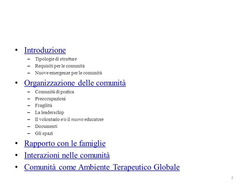 Introduzione – Tipologie di strutture – Requisiti per le comunità – Nuove emergenze per le comunità Organizzazione delle comunità – Comunità di pratic